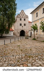 Street view at the city of Trebon in Southern Bohemia, CZ