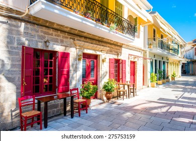 Street view with colorful old houses in Levkas city on Lefkada island in Greece