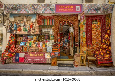 Street view of colourful fabric shop in Plaka District of Athens, Athens, Greece, Europe 12 October 2017