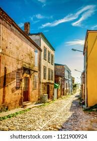 Street view in Cunda Island in Ayvalik. Ayvalik is an old town by the Aegean Sea.