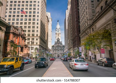 Street view of downtown Philadelphia in PA, USA