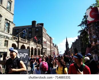 Street view at Edinburgh festival Scotland, taken on 17th August 2017