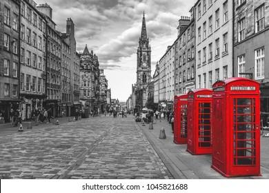 street view of Edinburgh, Scotland in black and white
