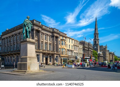 street view of George street at Edinburgh, scotland