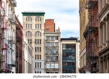 Street view of historic buildings on Broadway in the Tribeca neighborhood of Manhattan in New York City NYC
