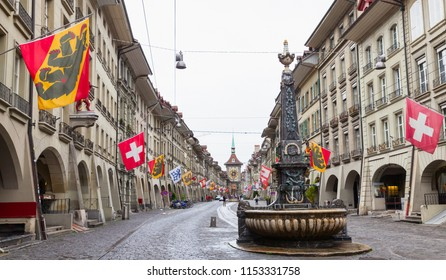 Street view of Kramgasse or Grocers Alley. It is one of the principal streets in the Old City of Bern, Switzerland