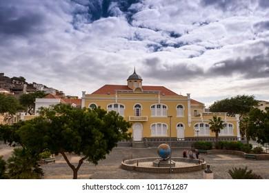 Street view of Mindelo in Sao Vicente island in Cape Verde - Republic of Cabo Verde