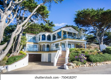 Street view of a multilevel house in Carmel-by-the-Sea, Monterey Peninsula, California