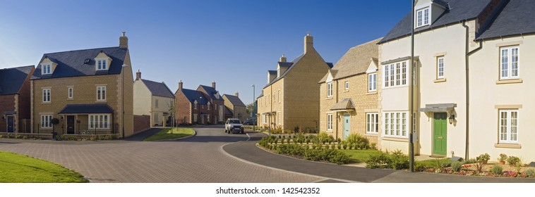 Street view of newly built homes.