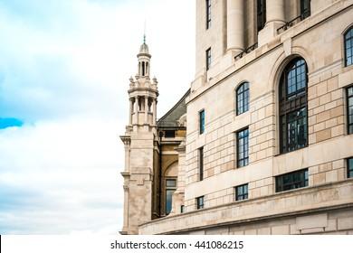 Street view of old buildings in London, England, UK