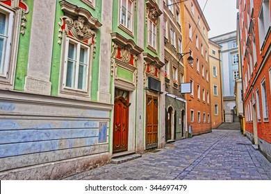 Street view in the Old city of Linz of Austria in January