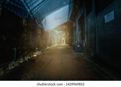Street View Of Old Grunge Alley Ways at The Bangkok City, Thailand
