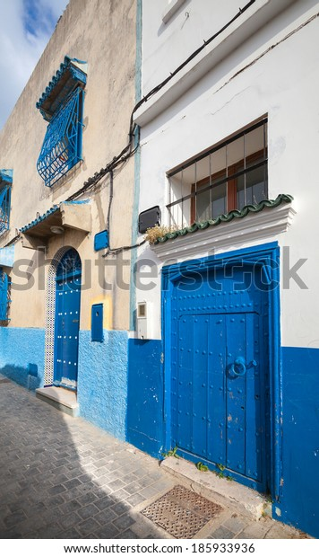 Street view of old Medina. Historical center of Tangier city, Morocco