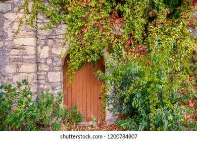 Street view of an old stone house entrance in Provence, France, where a vintage round top door and wall are partially covered by pretty climbing vines.