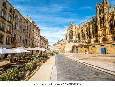 Street view on the central square with famous cathedral in Metz city in Lorraine region of France