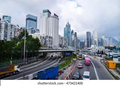 Street view on the public way between port and Tin Hua station, Hong Kong