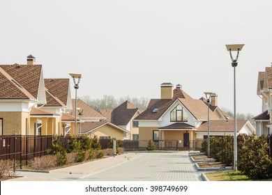 Street view on a  row of a new modern residential house complex