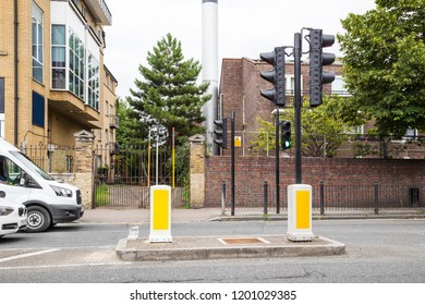 Street View of Pedestrian Crossing Zone and traffic lights in London, UK