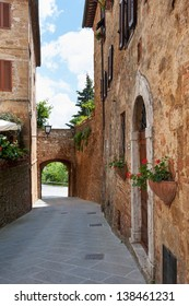 Street view in Pienza village. Tuscany, Italy.