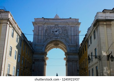 street view of portuguese arquitecture arch, in Terreiro do Paço, in lisbon, portugal