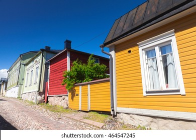 Street view of Porvoo town, Finland. Colorful facades of small wooden houses