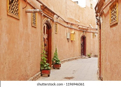 Street view of renovated buildings in Kashgar Ancient Town, Xinjiang, China.