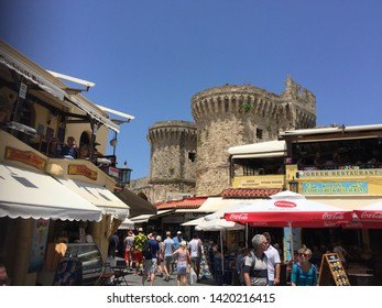 Street view and Rhodos castle/Rhodes island,Greece 15.05.2019