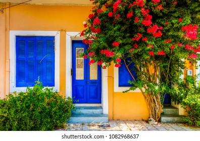 A street view in Samos Island, Greece