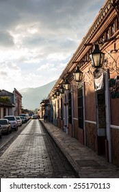 Street view and sidewalk on San Cristobal de las Casas colonial town. Latin American Culture.