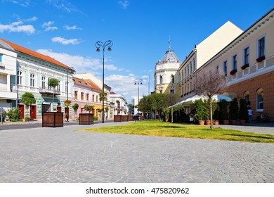 Street view of small town of Sfintu Gheorghe in Transylvania