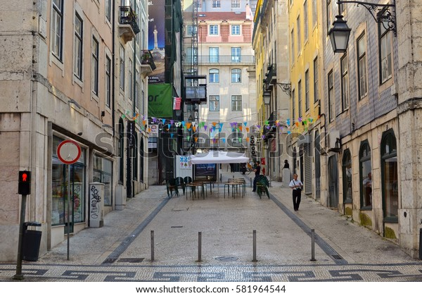Street view somewhere in Lisbon, Portugal. September 2014