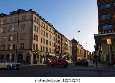 Street view that near Fridhemsplan station, Stockholm, Sweden - 19 Jun 2018: Fridhemsplan is a plaza of Kungsholmen, Stockholm and a metro station.