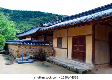 Street view of traditional wooden houses at Daegu Otgol Village with beautiful nature background at spring or summer season. This place is one of the famous tourist destination in Daegu, South Korea.