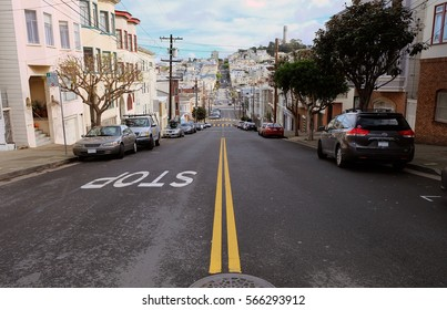 Street view with trees and buildings from the road with 'Stop' sign San Francisco, California, United States