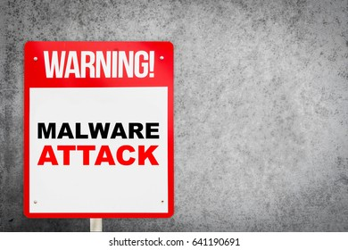 Street Warning Sign on Malware Attack with copy space