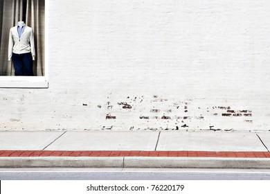 street white brick wall & window shopping