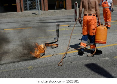 Street worker in Hamburg, germany