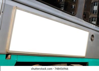Streetcar advertising. Blank billboard on trolley bus