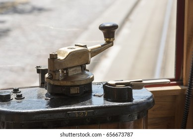 A streetcar power handle and brake lever used by a motorman to drive and stop the tram. April 2017