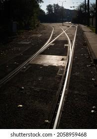 Streetcar tracks in the morning backlit