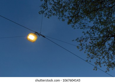 streetlamp on blue hour sunset sky on springtime holiday evening in south germany