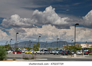 Streetlamps and Stunning Clouds in Prescott Valley, Arizona Parking Lot