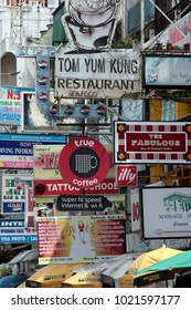 a streetlife at the Khao San Road on Banglamphu in bangkok of Thailand.   Thailand, Bangkok, April, 2011