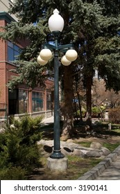 Streetlight on walking mall in downtown Helena, Montana
