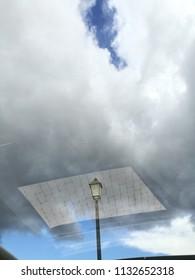 Streetlight and sky reflection