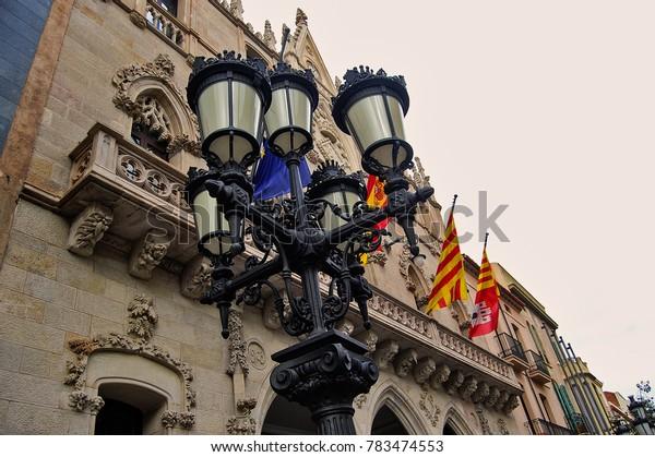 Streetlight at Terrassa city in Barcelona province - Catalonia / Spain