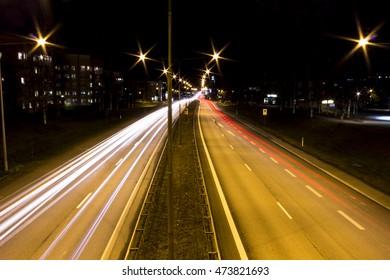 Streetlights at the highway long exposure
