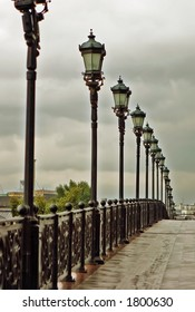 Streetlights on the bridge - vintage