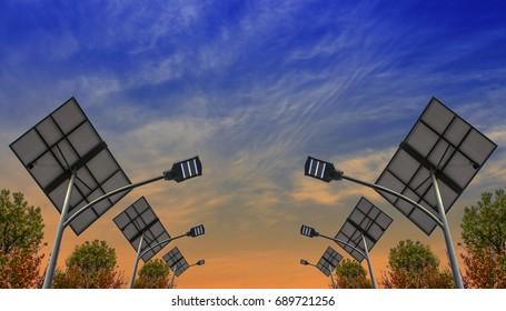 Streetlights and sky with solar power