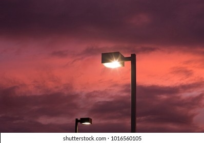 Streetlights at sunset after a winter storm in Northern California.